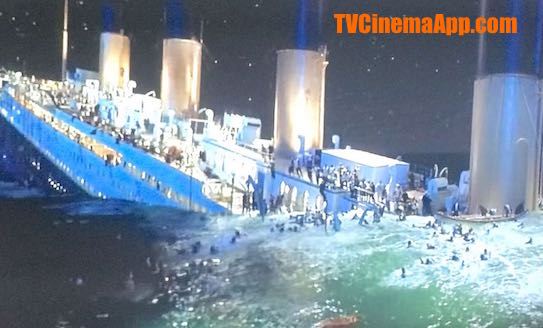 TVCinemaApp.com - Documentaries: James Cameron's Titanic wrecking into two pieces, starring Leonardo De Caprio and Kate Winslet.