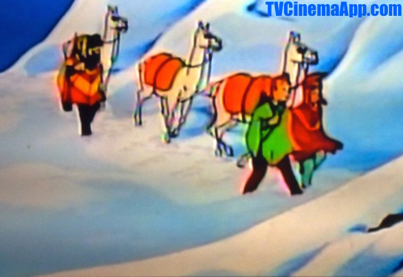 TVCinemaApp.com - Anime Film: The Adventures of TinTin, TinTin, Captain Haddock and the voyage boy with their camels during voyage.