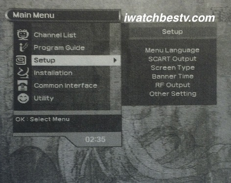 Direct TV Satellite: The Setup Function Displaying on the Main Menu.