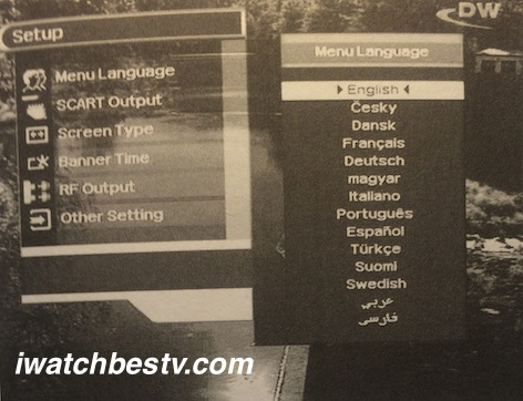 Direct TV Satellite: Displaying The Main Menu Language Setting on Screen.