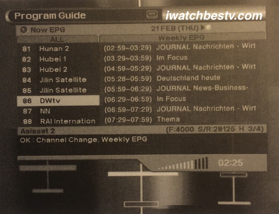 Direct TV Satellite: Setting Electronic Program Guide for Programs Displaying Weekly.