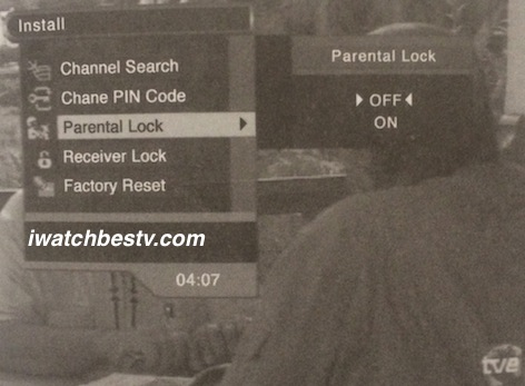 Dish Network Satellite TV: Parental Lock Control in the Installation Menu.