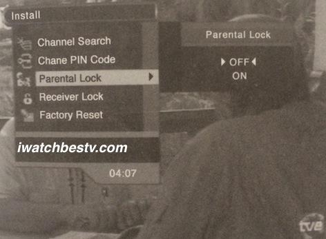 Dish Network Satellite TV: Parental Lock Control in the Installation Menu.