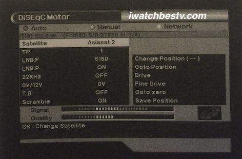 Satellite TV Dish: The Menu DiSEqC Motor.