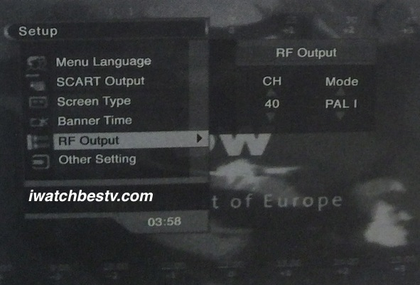 Satellite Direct TV: The RF Output Setting.