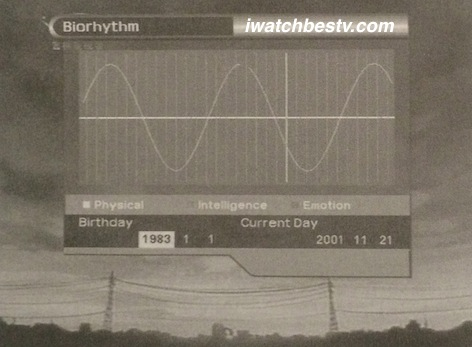 Satellite TV Installation: The Bio Rhythm in the Utility in the Main Menu Operation.