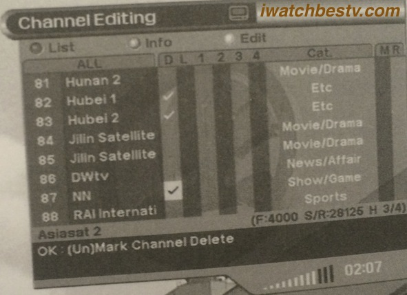 Streaming Satellite TV: Channel Delete.
