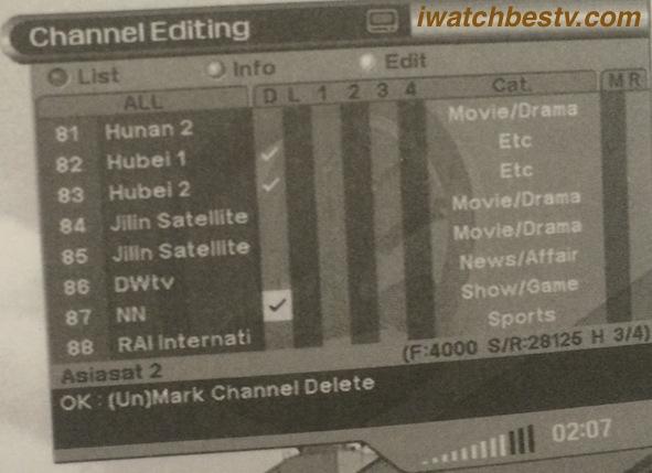 Streaming Satellite TV: Channel Delete.