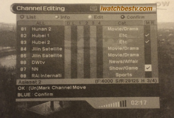 Watch Satellite TV: Positioning Channels - Moving the Position of Channels.