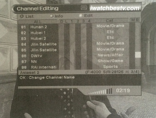 Watch Satellite TV: Rename Channels - Change Channels Names.