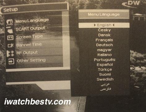 Direct Satellite TV: Displaying The Main Menu Language Setting on Screen.