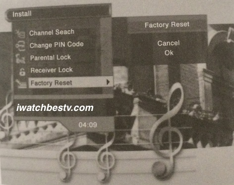 Dish Network Satellite TV: Factory Reset Control in the Installation Menu.