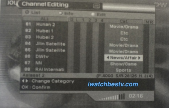 Watch Satellite TV: Organize Channel Categories.